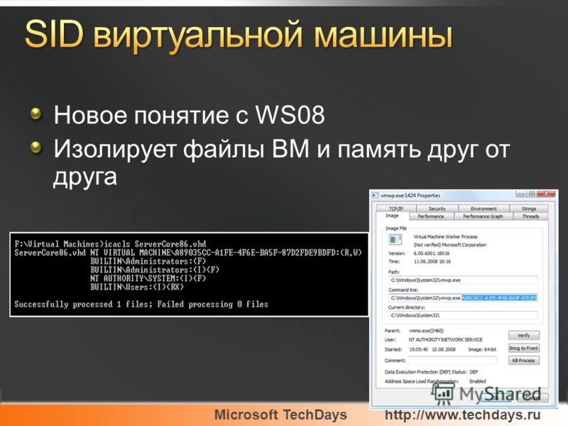 Microsoft TechDayshttp://www.techdays.ru Новое понятие с WS08 Изолирует файлы ВМ и память друг от друга