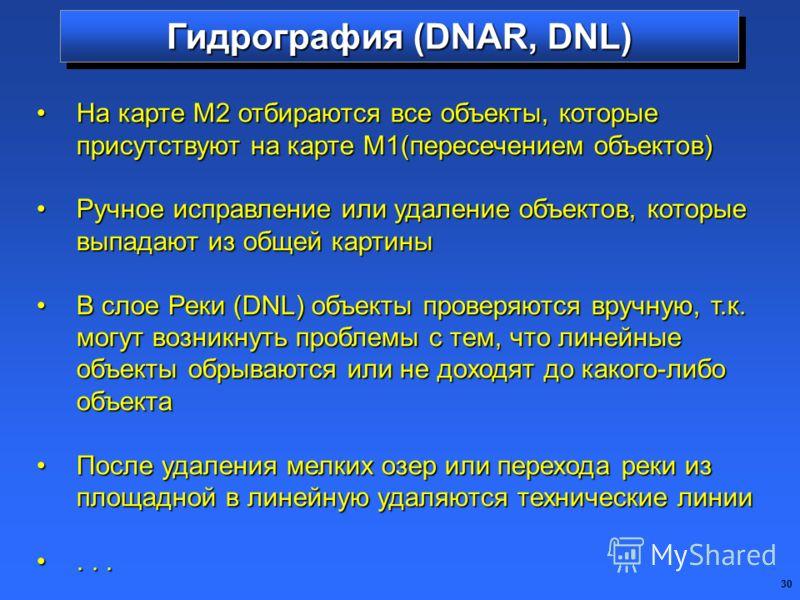 30 Гидрография (DNAR, DNL) На карте М2 отбираются все объекты, которые присутствуют на карте М1(пересечением объектов)На карте М2 отбираются все объекты, которые присутствуют на карте М1(пересечением объектов) Ручное исправление или удаление объектов