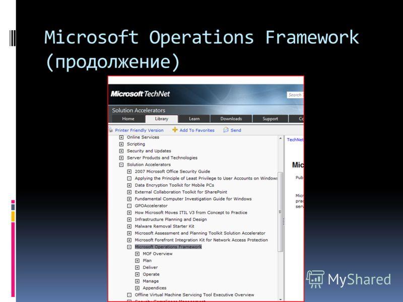 Microsoft Operations Framework (продолжение)