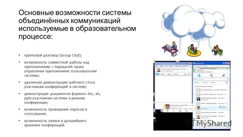 Основные возможности системы объединённых коммуникаций используемые в образовательном процессе: групповой разговор (Group Chat); возможность совместной работы над приложениями с передачей права управления приложениям пользователям системы; удаленная