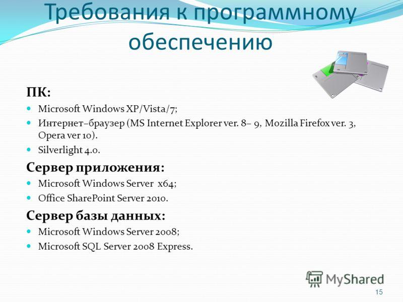 Требования к программному обеспечению ПК: Microsoft Windows XP/Vista/7; Интернет–браузер (MS Internet Explorer ver. 8– 9, Mozilla Firefox ver. 3, Opera ver 10). Silverlight 4.0. Сервер приложения: Microsoft Windows Server x64; Office SharePoint Serve