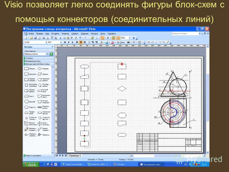 Visio позволяет легко соединять фигуры блок-схем с помощью коннекторов (соединительных линий)