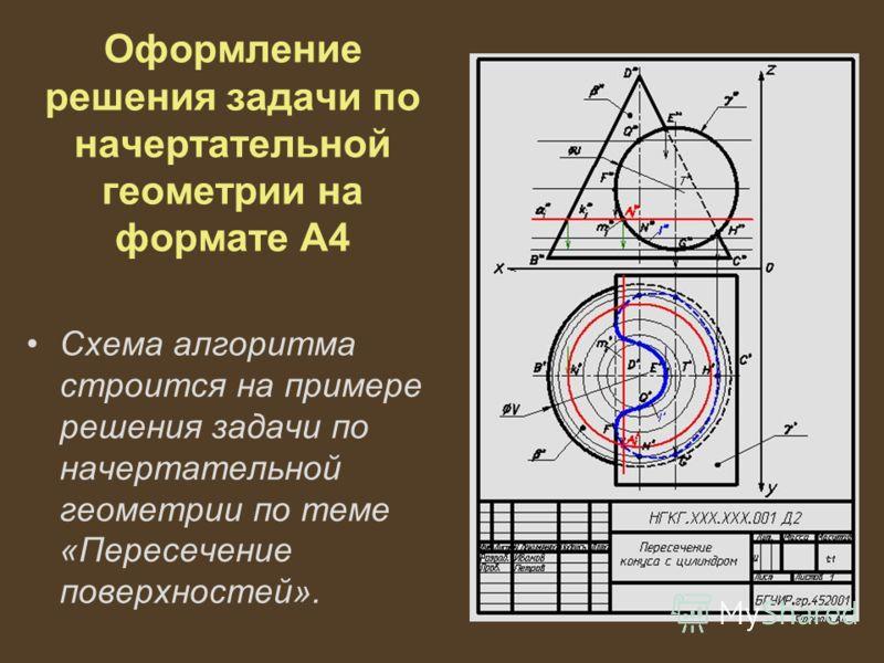 Оформление решения задачи по начертательной геометрии на формате А4 Схема алгоритма строится на примере решения задачи по начертательной геометрии по теме «Пересечение поверхностей».