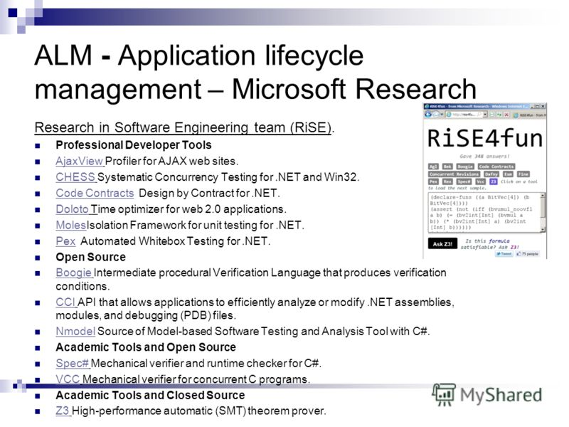 ALM - Application lifecycle management – Microsoft Research Research in Software Engineering team (RiSE). Professional Developer Tools AjaxView Profiler for AJAX web sites. AjaxView CHESS Systematic Concurrency Testing for.NET and Win32. CHESS Code C