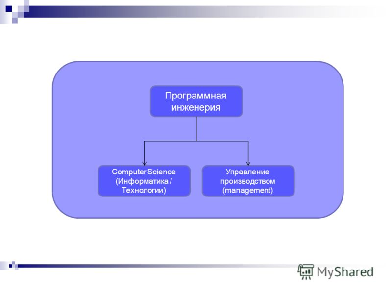 Программная инженерия Управление производством (management) Computer Science (Информатика / Технологии)