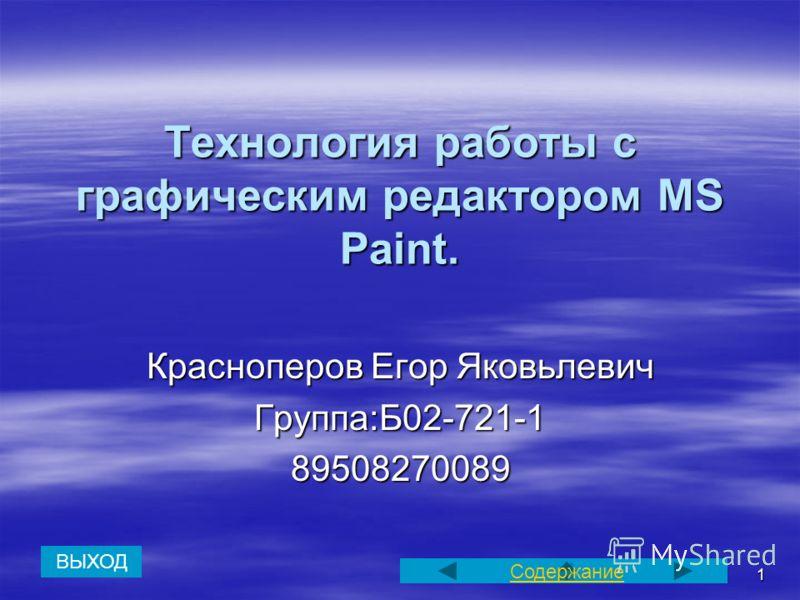 1 Технология работы с графическим редактором MS Paint. Красноперов Егор Яковьлевич Группа:Б02-721-189508270089 Содержание ВЫХОД
