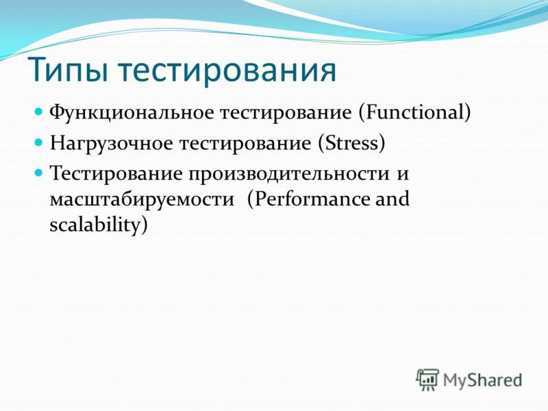 Типы тестирования Функциональное тестирование (Functional) Нагрузочное тестирование (Stress) Тестирование производительности и масштабируемости (Performance and scalability)