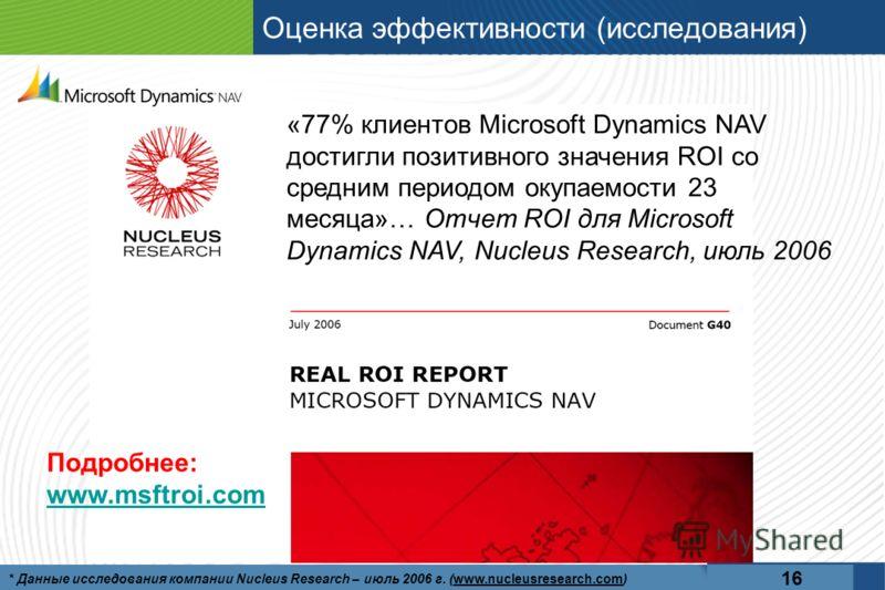 Оценка эффективности (исследования) 16 * Данные исследования компании Nucleus Research – июль 2006 г. (www.nucleusresearch.com) «77% клиентов Microsoft Dynamics NAV достигли позитивного значения ROI со средним периодом окупаемости 23 месяца»… Отчет R