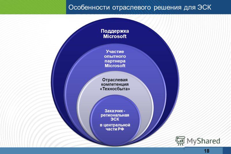 Особенности отраслевого решения для ЭСК Поддержка Microsoft Участие опытного партнера Microsoft Отраслевая компетенция «Техносбыта» Заказчик - региональная ЭСК в центральной части РФ 18