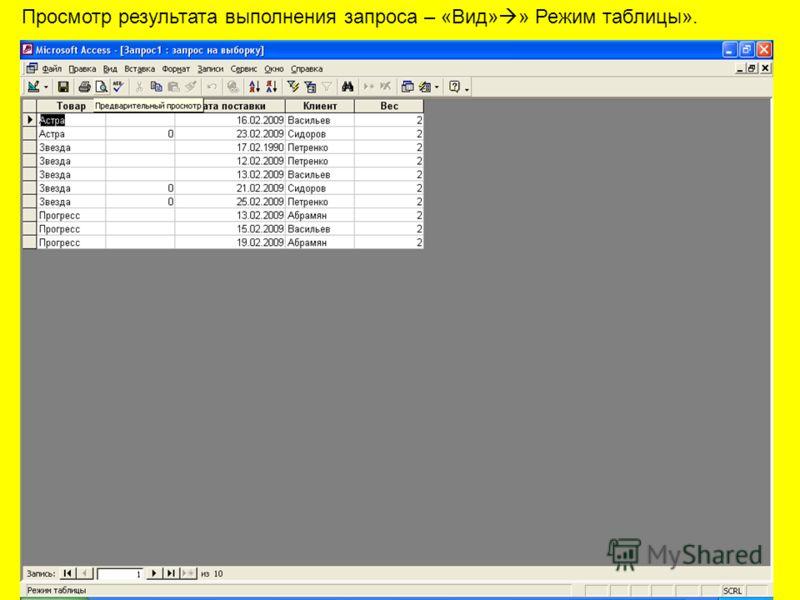 Просмотр результата выполнения запроса – «Вид» » Режим таблицы».