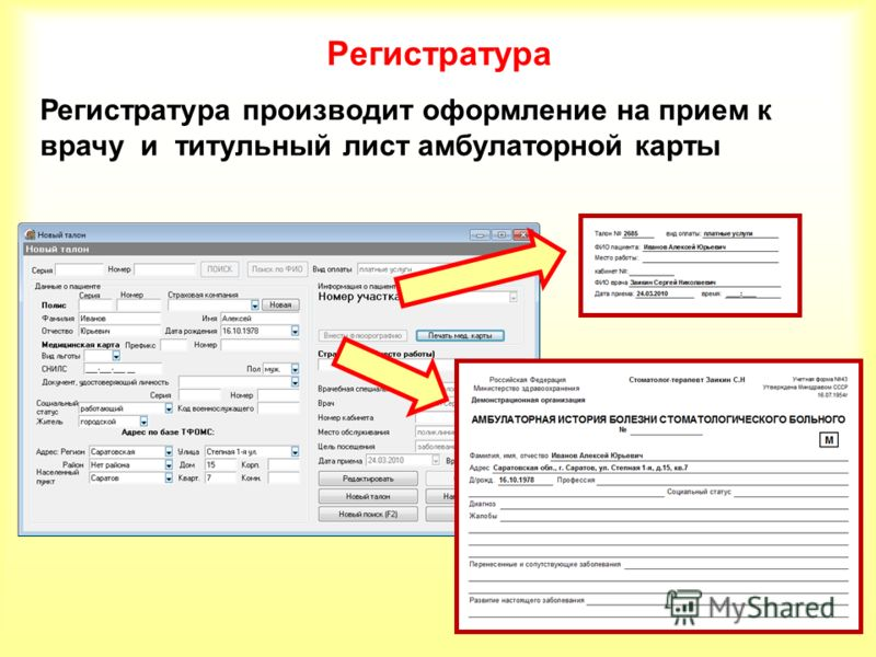 Регистратура Регистратура производит оформление на прием к врачу и титульный лист амбулаторной карты