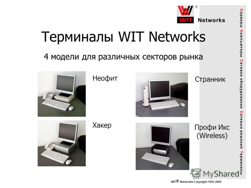 Терминалы WIT Networks 4 модели для различных секторов рынка Неофит Хакер Странник Профи Икс (Wireless) WIT Networks Copyright 1993-2005