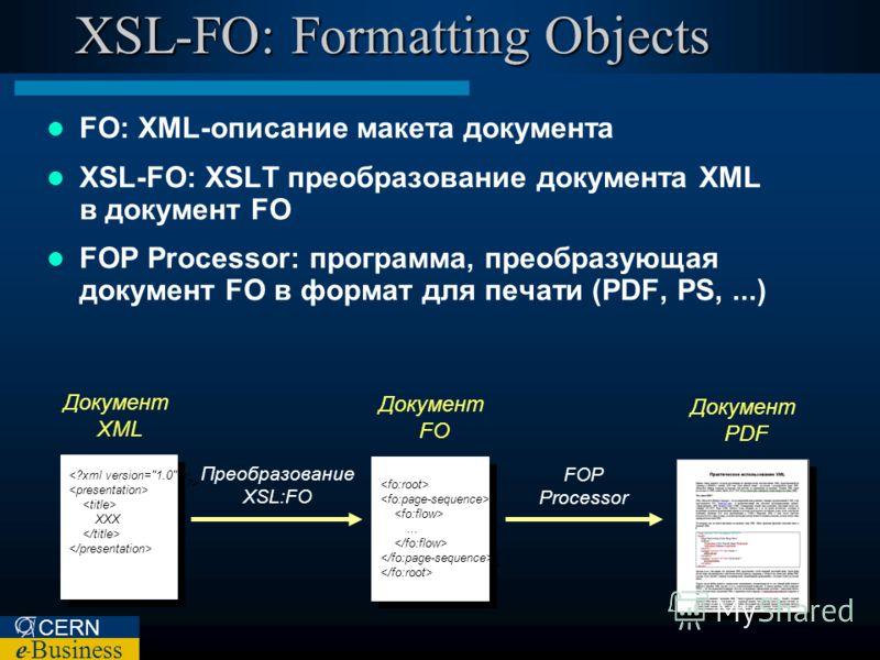 CERN e – Business XSL-FO: Formatting Objects FO: XML-описание макета документа XSL-FO: XSLT преобразование документа XML в документ FO FOP Processor: программа, преобразующая документ FO в формат для печати (PDF, PS,...) XXX XXX...... Документ XML До
