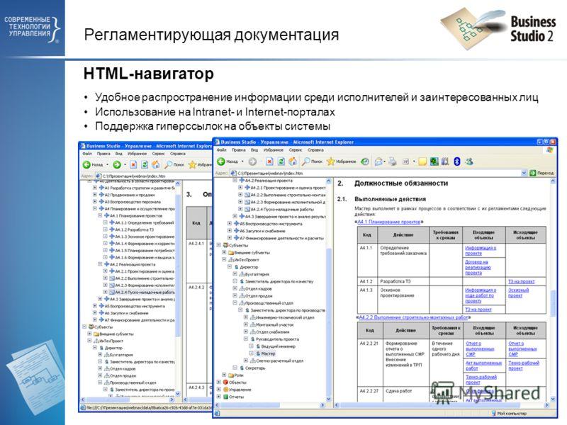 Удобное распространение информации среди исполнителей и заинтересованных лиц Использование на Intranet- и Internet-порталах Поддержка гиперссылок на объекты системы Регламентирующая документация HTML-навигатор