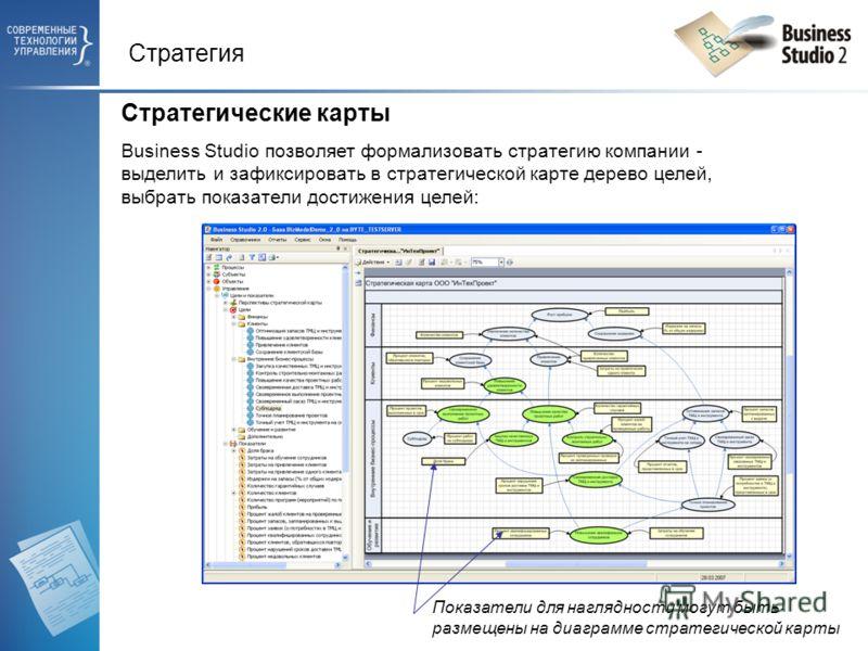 Стратегия Стратегические карты Business Studio позволяет формализовать стратегию компании - выделить и зафиксировать в стратегической карте дерево целей, выбрать показатели достижения целей: Показатели для наглядности могут быть размещены на диаграмм