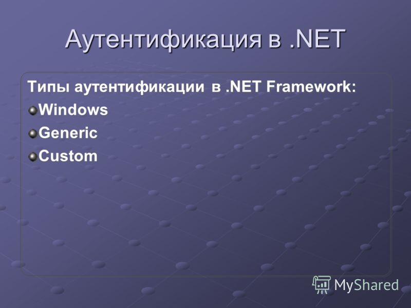 Аутентификация в.NET Типы аутентификации в.NET Framework: Windows Generic Custom Типы аутентификации в.NET Framework: Windows Generic Custom