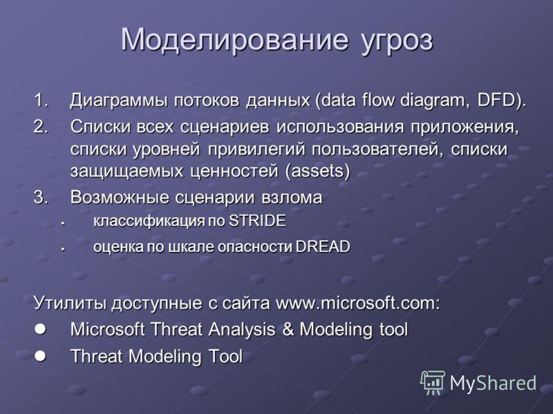 Моделирование угроз 1.Диаграммы потоков данных (data flow diagram, DFD). 2.Списки всех сценариев использования приложения, списки уровней привилегий пользователей, списки защищаемых ценностей (assets) 3.Возможные сценарии взлома классификация по STRI