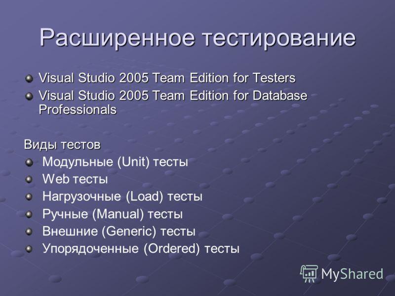 Расширенное тестирование Visual Studio 2005 Team Edition for Testers Visual Studio 2005 Team Edition for Database Professionals Виды тестов Модульные (Unit) тесты Web тесты Нагрузочные (Load) тесты Ручные (Manual) тесты Внешние (Generic) тесты Упоряд
