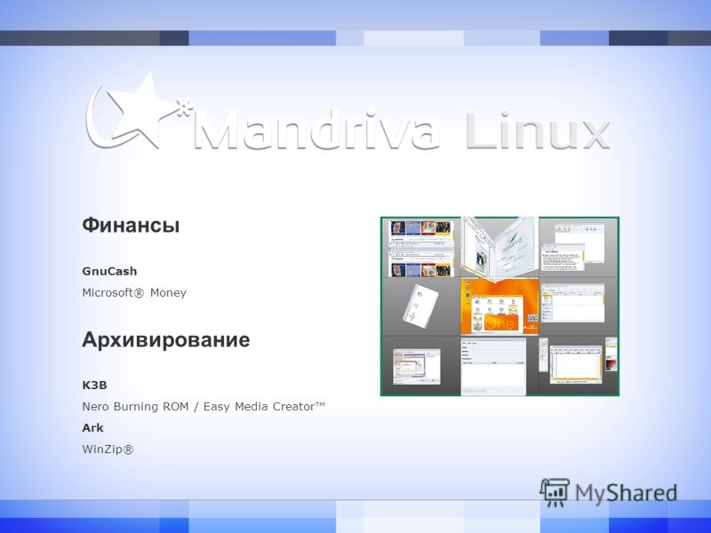Финансы GnuCash Microsoft® Money Архивирование K3B Nero Burning ROM / Easy Media Creator Ark WinZip®