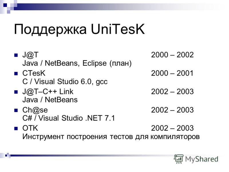 Поддержка UniTesK J@T2000 – 2002 Java / NetBeans, Eclipse (план) CTesK2000 – 2001 C / Visual Studio 6.0, gcc J@T–C++ Link2002 – 2003 Java / NetBeans Ch@se2002 – 2003 C# / Visual Studio.NET 7.1 OTK2002 – 2003 Инструмент построения тестов для компилято