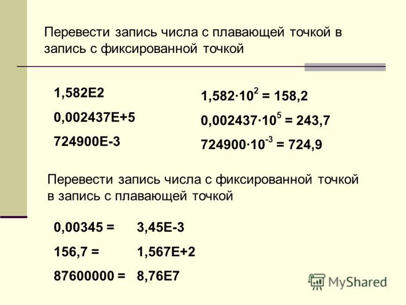 1,582·10 2 = 158,2 0,002437·10 5 = 243,7 724900·10 -3 = 724,9 Перевести запись числа с плавающей точкой в запись с фиксированной точкой 1,582Е2 0,002437Е+5 724900Е-3 Перевести запись числа с фиксированной точкой в запись с плавающей точкой 0,00345 =