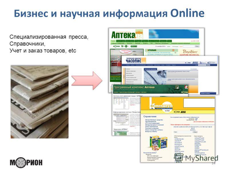 Бизнес и научная информация Online 14 Специализированная пресса, Справочники, Учет и заказ товаров, etc