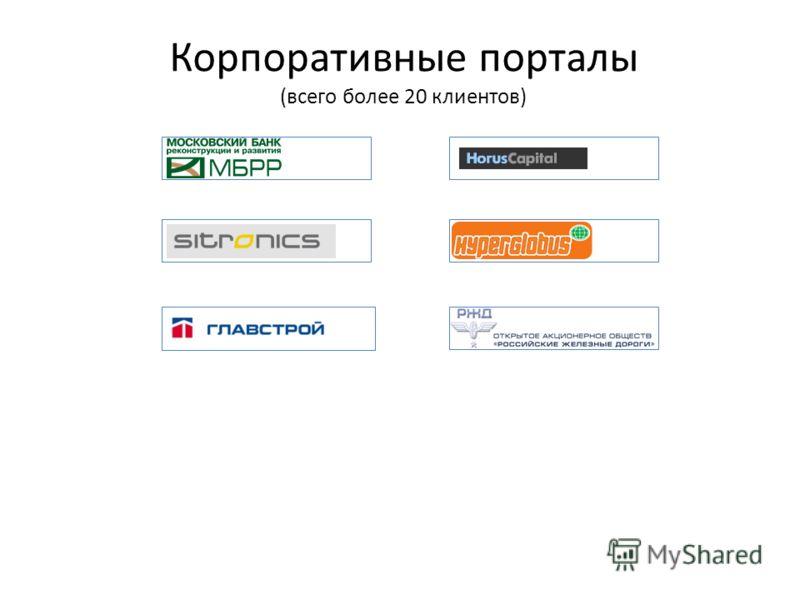 Корпоративные порталы (всего более 20 клиентов)