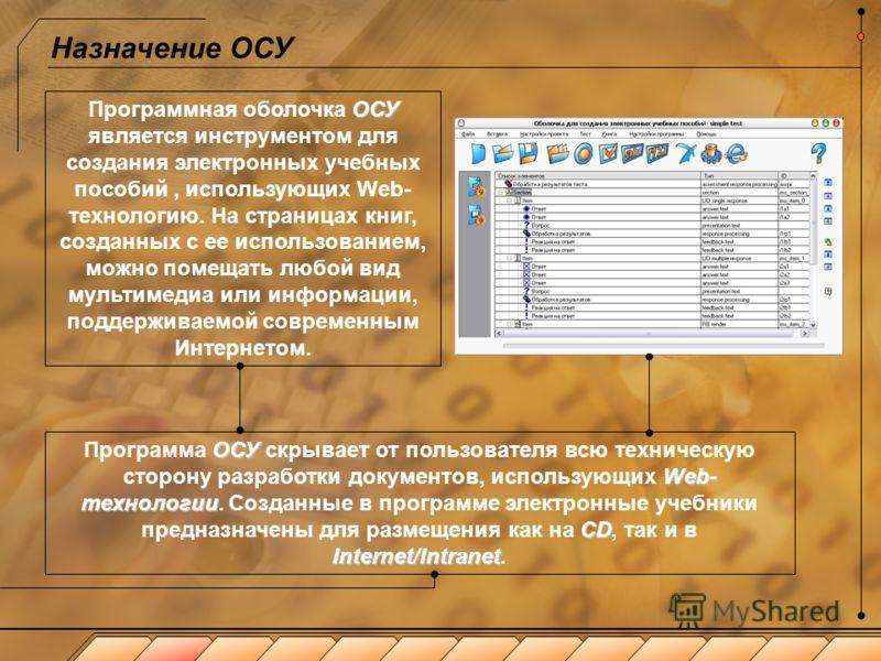 Оболочка для создания учебников (ОСУ 2.1) ОСУ Программная оболочка ОСУ предназначена для автоматизированного конструирования электронных учебных пособий по заданной пользователем структуре из имеющихся материалов. Программа создает единую структуру р