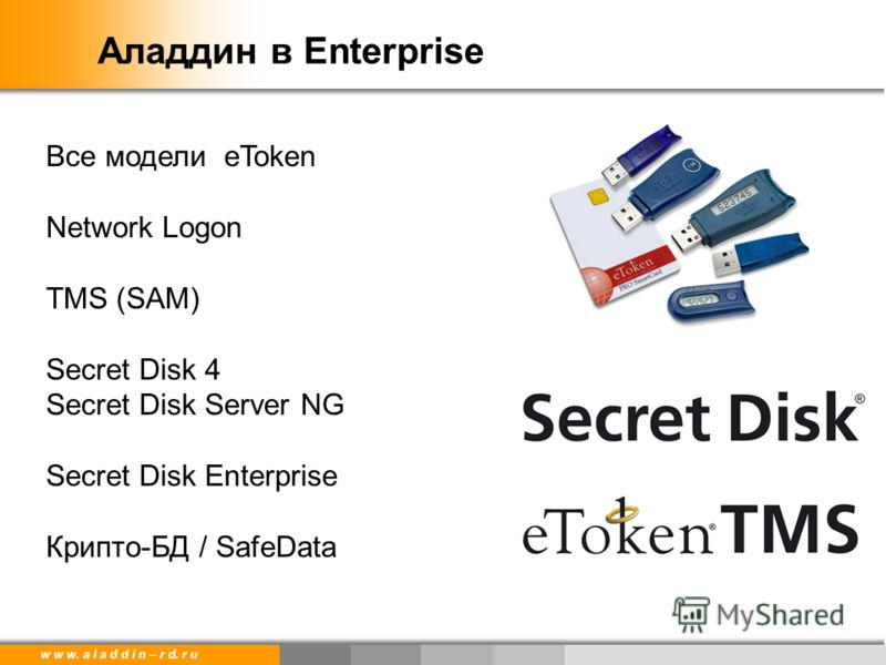 w w w. a l a d d i n – r d. r u Аладдин в Enterprise Все модели eToken Network Logon TMS (SAM) Secret Disk 4 Secret Disk Server NG Secret Disk Enterprise Крипто-БД / SafeData