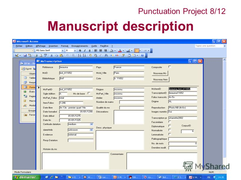 Manuscript description Punctuation Project 8/12