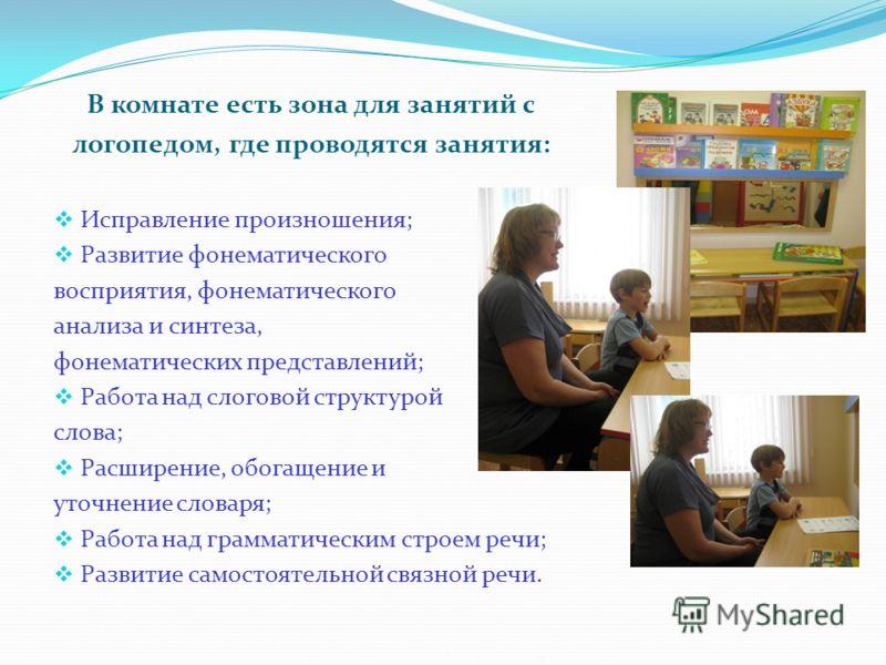 В комнате есть зона для занятий с логопедом, где проводятся занятия: Исправление произношения; Развитие фонематического восприятия, фонематического анализа и синтеза, фонематических представлений; Работа над слоговой структурой слова; Расширение, обо