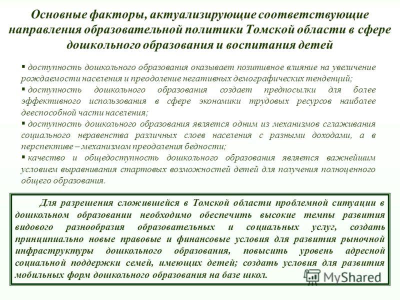 Основные факторы, актуализирующие соответствующие направления образовательной политики Томской области в сфере дошкольного образования и воспитания детей доступность дошкольного образования оказывает позитивное влияние на увеличение рождаемости насел