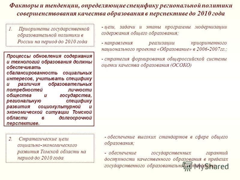 Факторы и тенденции, определяющие специфику региональной политики совершенствования качества образования в перспективе до 2010 года 1. Приоритеты государственной образовательной политики в России на период до 2010 года 2. Стратегические цели социальн