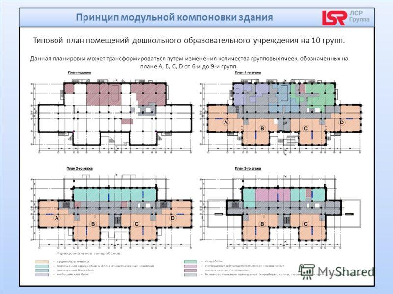Типовой план помещений дошкольного образовательного учреждения на 10 групп. Данная планировка может трансформироваться путем изменения количества групповых ячеек, обозначенных на плане А, В, С, D от 6-и до 9-и групп. Принцип модульной компоновки здан