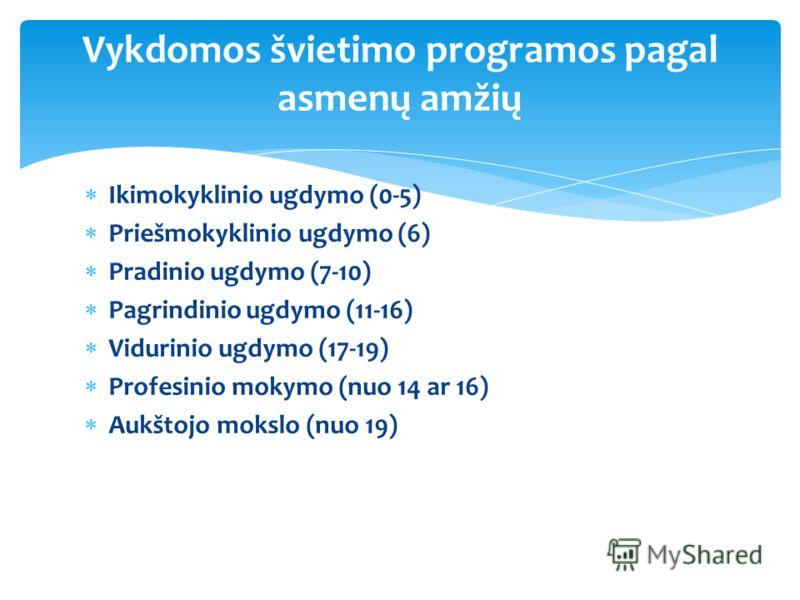 Ikimokyklinio ugdymo (0-5) Priešmokyklinio ugdymo (6) Pradinio ugdymo (7-10) Pagrindinio ugdymo (11-16) Vidurinio ugdymo (17-19) Profesinio mokymo (nuo 14 ar 16) Aukštojo mokslo (nuo 19) Vykdomos švietimo programos pagal asmenų amžių