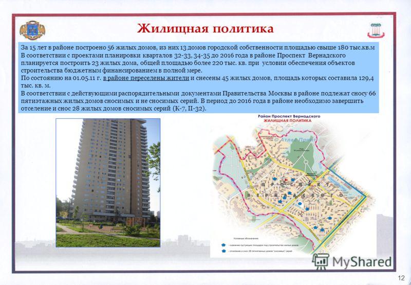 Жилищная политика 12 За 15 лет в районе построено 56 жилых домов, из них 13 домов городской собственности площадью свыше 180 тыс.кв.м В соответствии с проектами планировки кварталов 32-33, 34-35 до 2016 года в районе Проспект Вернадского планируется