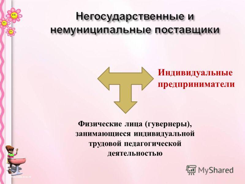 Физические лица ( гувернеры ), занимающиеся индивидуальной трудовой педагогической деятельностью Индивидуальные предприниматели