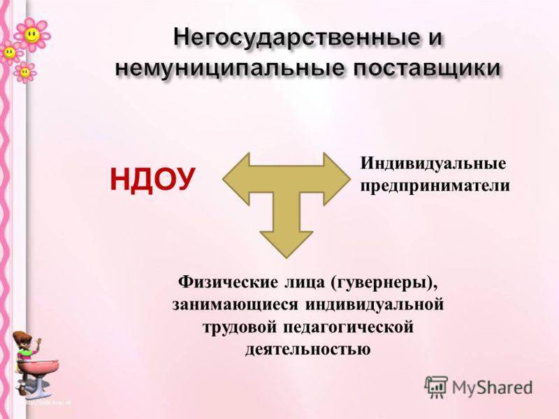 Физические лица ( гувернеры ), занимающиеся индивидуальной трудовой педагогической деятельностью Индивидуальные предприниматели НДОУ