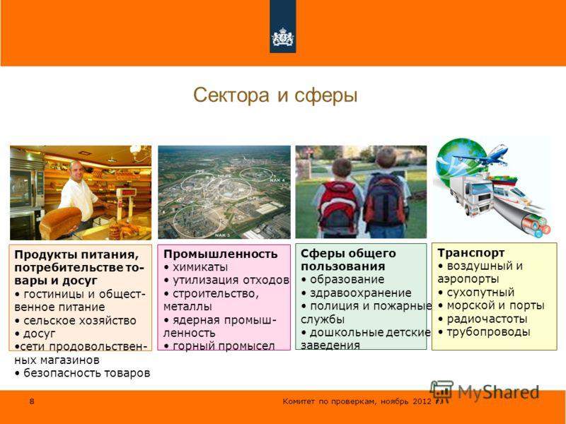Комитет по проверкам, ноябрь 2012 г. 8 Сектора и сферы 8 Продукты питания, потребительстве то- вары и досуг гостиницы и общест- венное питание сельское хозяйство досуг сети продовольствен- ных магазинов безопасность товаров Промышленность химикаты ут