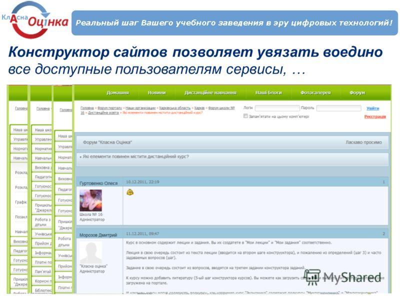 Конструктор сайтов позволяет увязать воедино все доступные пользователям сервисы, …