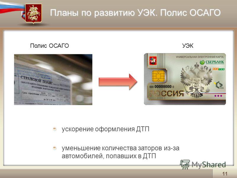 Планы по развитию УЭК. Полис ОСАГО 11 ускорение оформления ДТП уменьшение количества заторов из-за автомобилей, попавших в ДТП Полис ОСАГОУЭК