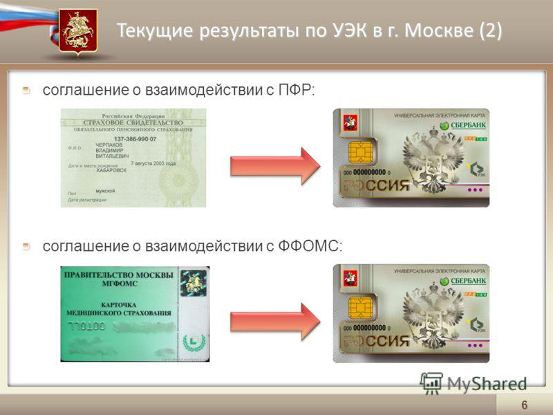 Текущие результаты по УЭК в г. Москве (2) 6 соглашение о взаимодействии с ПФР: соглашение о взаимодействии с ФФОМС: