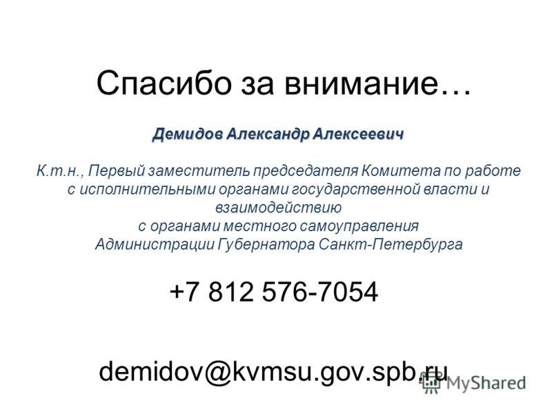Спасибо за внимание… +7 812 576-7054 demidov@kvmsu.gov.spb.ru Демидов Александр Алексеевич К.т.н., Первый заместитель председателя Комитета по работе с исполнительными органами государственной власти и взаимодействию с органами местного самоуправлени