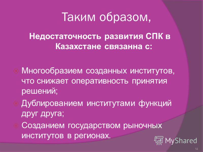 Таким образом, Недостаточность развития СПК в Казахстане связанна с: Многообразием созданных институтов, что снижает оперативность принятия решений; Дублированием институтами функций друг друга; Созданием государством рыночных институтов в регионах.