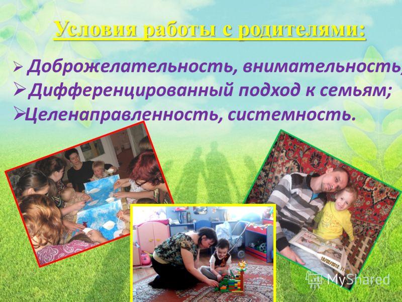 Условия работы с родителями: Доброжелательность, внимательность; Дифференцированный подход к семьям; Целенаправленность, системность.