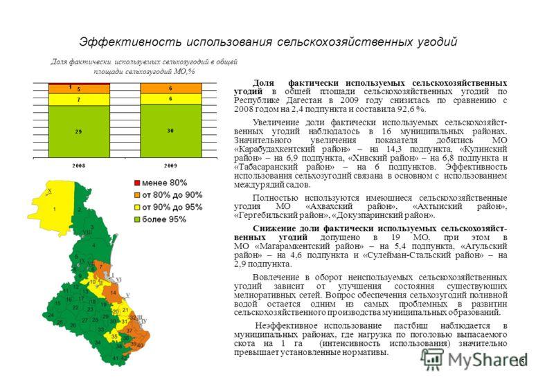 15 Эффективность использования сельскохозяйственных угодий Доля фактически используемых сельскохозяйственных угодий в общей площади сельскохозяйственных угодий по Республике Дагестан в 2009 году снизилась по сравнению с 2008 годом на 2,4 подпункта и