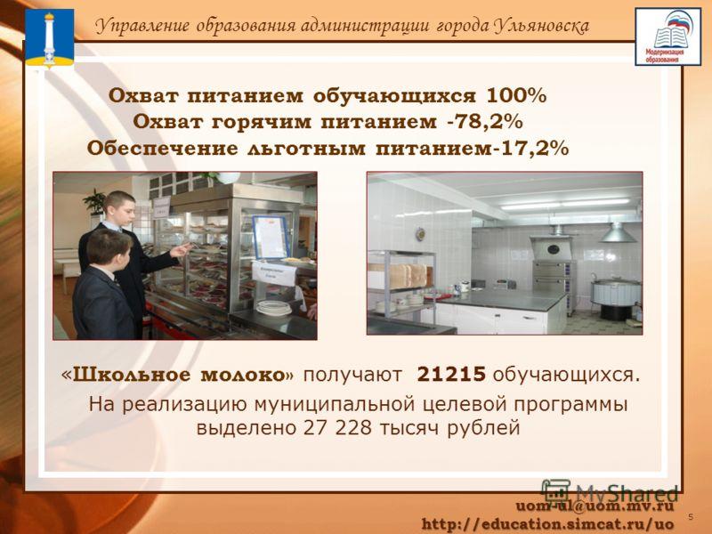 Охват питанием обучающихся 100% Охват горячим питанием -78,2% Обеспечение льготным питанием-17,2% uom-ul@uom.mv.ru http://education.simcat.ru/uo http://education.simcat.ru/uo Управление образования администрации города Ульяновска 5 « Школьное молоко»