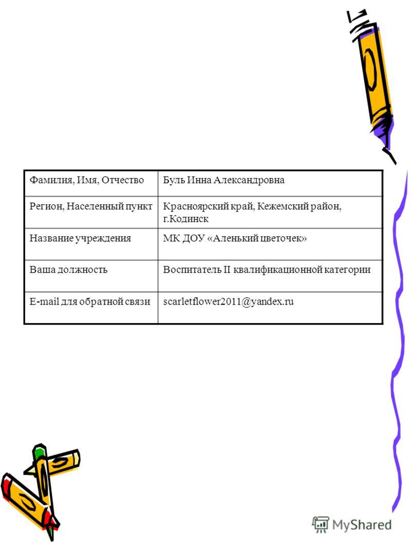 Фамилия, Имя, ОтчествоБуль Инна Александровна Регион, Населенный пунктКрасноярский край, Кежемский район, г.Кодинск Название учрежденияМК ДОУ «Аленький цветочек» Ваша должностьВоспитатель II квалификационной категории Е-mail для обратной связиscarlet