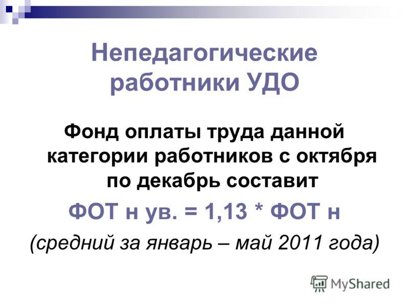 Непедагогические работники УДО Фонд оплаты труда данной категории работников с октября по декабрь составит ФОТ н ув. = 1,13 * ФОТ н (средний за январь – май 2011 года)