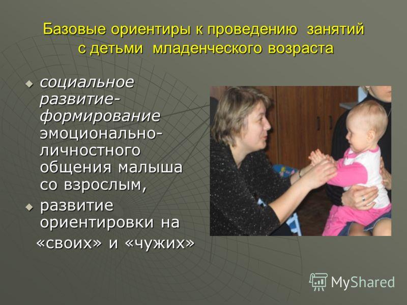 Базовые ориентиры к проведению занятий с детьми младенческого возраста социальное развитие- формирование эмоционально- личностного общения малыша со взрослым, социальное развитие- формирование эмоционально- личностного общения малыша со взрослым, раз